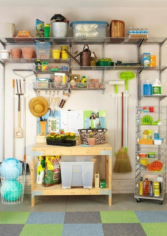 49 Brilliant Garage Organization Tips, Ideas and DIY Projects - Create a Garden Center: Dividing all of your storage into zones is a great way to really get organized. You can easily create a garden center by simply adding metal shelving and hooks