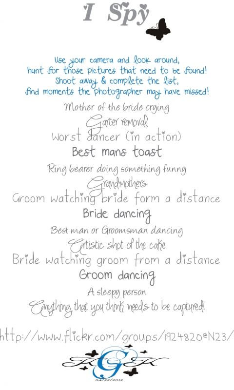 Wedding I-Spy. Give to people to submit their pictures on a website - whoever captures the best photos gets a little gift!