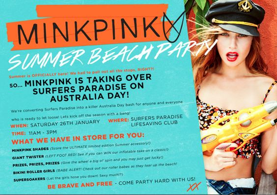 This is an example of a poster for the kind of fashion brand that I will be making my posters for. Mink Pink is a contemporary fashion brand aimed towards young women who are interested in fashion.