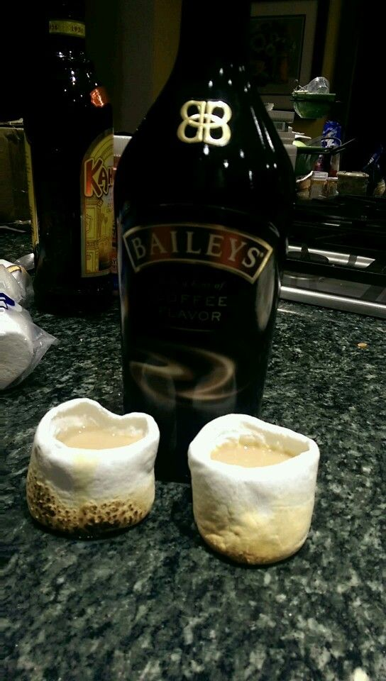 Marshmallow shots with Baileys. Scoop out the center of the marshmallow, carefully roast each marshmallow using a long spoon (so you don't puncture it), fill with Baileys & drink quickly!