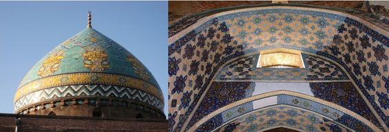Le magnifique dôme de la Mosquée Bleue ou Masjed-e kaboud et détail des mosaïques : cette mosquée a été construite par un souverain turc des Moutons Noirs, Djahân Shâh (1439-67). Terminée en 1465, la mosquée bleue se visite en particulier pour son décor en mosaïque de céramique émaillée, l'un des plus beaux de l'art islamique iranien © Galerie Iran
