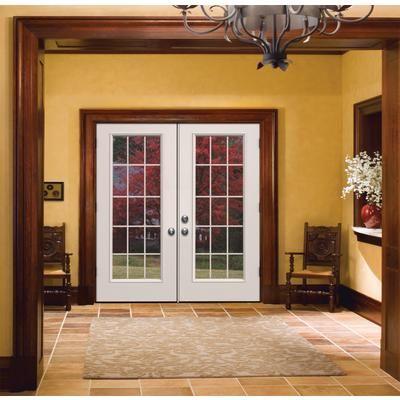 Dark trim around white french doors wood trim for White sliding french doors