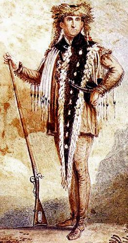 Meriwether Lewis had this portrait done of himself in leather and fur after the completion of the Expedition
