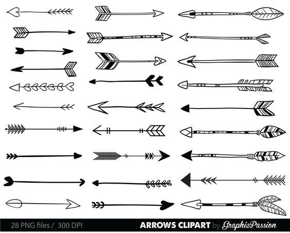 Arrows Clip Art Tribal Arrow Clipart Archery Hand Drawn