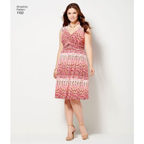 Simplicity Pattern 1102 Misses' & Plus Size Amazing Fit Knit Dress: