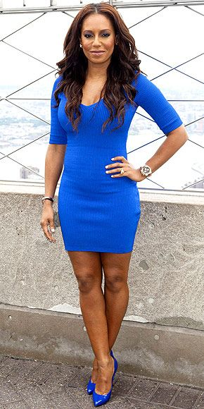 """MELANIE """"MEL B."""" BROWN Does the America's Got Talent judge need to spice up her style, or are you digging her moderately spicy, head-to-toe cobalt outfit, worn for a visit to the Empire State Buliding in N.Y.C.?"""