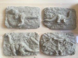 Met gips afdrukken van dinosaurussen maken en deze vervolgens afborstelen.  De bakjes zijn van de chinees een ideaal formaat en hoogte. Doe hier eerst een laagje zand in en druk dit goed aan. De dinosaurus kan nu in het zand gedrukt worden. Vervolgens hier gips overheen gieten en een dagje wachten. De volgende dag het bakje omdraaien en de fossielen kunnen met een tandenborstel uitgegraven worden