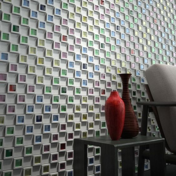 Dent cube tiles by Japanese Company, INAX. So cool!