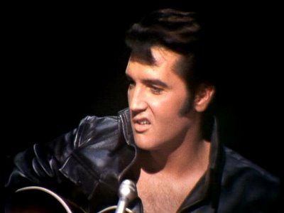 Elvis and his 'lip' during the sit-down black leather part of the NBC-TV Special, 1968.