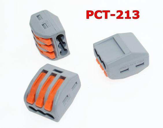 Wago 222-413 conector 10 PCS PCT-213 3 P Universal Compact Fio Condutor Conector Do Bloco de Terminais
