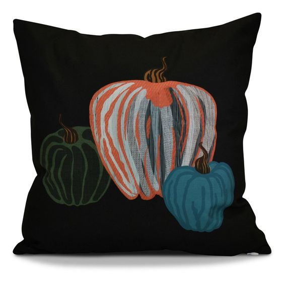 E by Design Flipping For Fall Pumpkin Spice Print Outdoor Pillow Black - O5PHGN715BK4-16