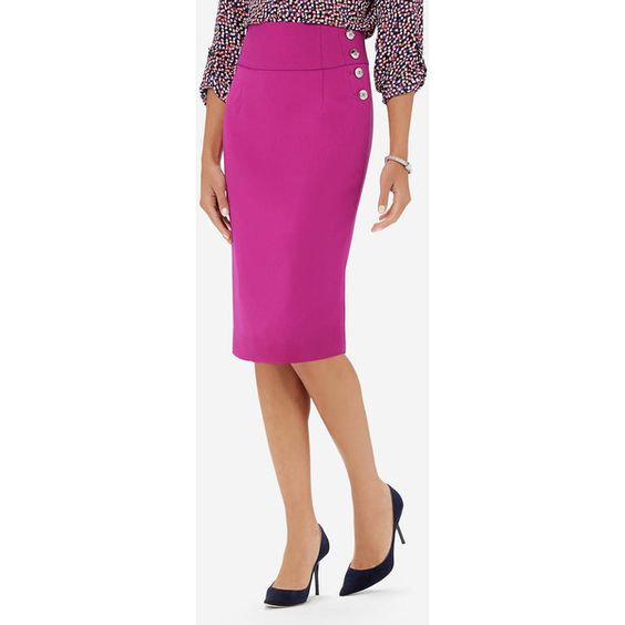 The Limited Buttoned High Waist Pencil Skirt Pink ($70) ❤ liked on Polyvore featuring skirts, pink, button skirt, high waisted knee length skirt, knee length pencil skirt, petite skirts and high rise pencil skirt