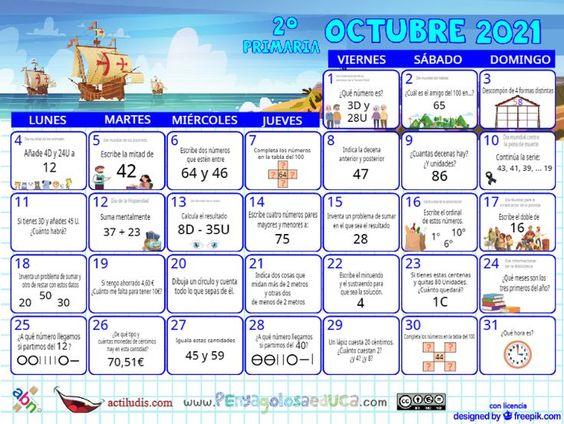 Calendario Segundo ABN – Octubre 2021