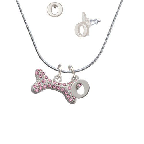 Silvertone Pink Tassel Monogrammed Necklace
