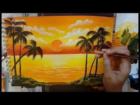 Sunset In The Ocean Acrylic Painting Simple Landscape Painting Youtube Landscape Paintings Scenery Paintings Easy Landscape Paintings