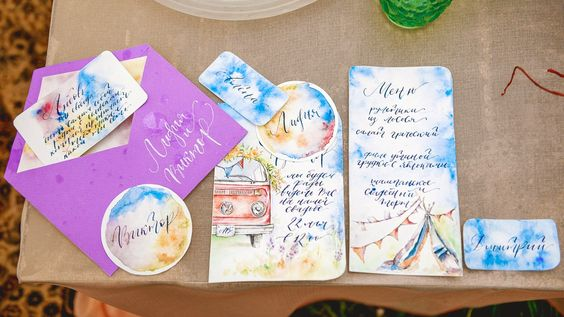 hippie wedding calligraphy