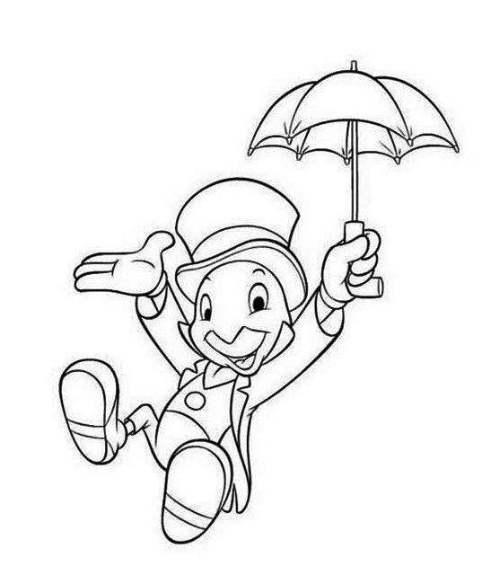 Pinocchio Character Jiminy Cricket Coloring Pages Disney In 2020 Easy Disney Drawings Disney Art Drawings Disney Coloring Pages