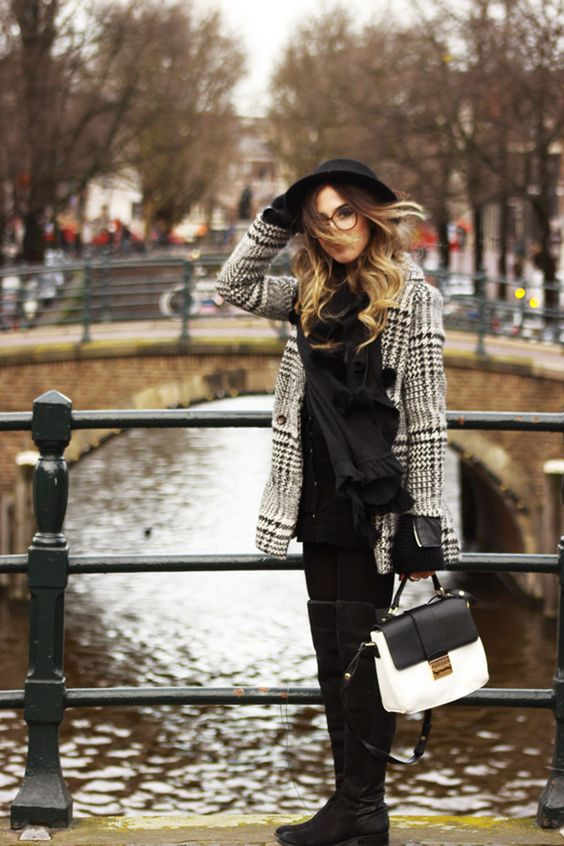 FashionCoolture - 16.02.2016 look du jour Amsterdam winter black and white coat (6)