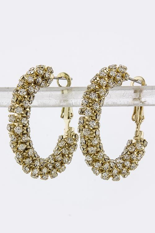 CRYSTAL ENCRUSTED SMALL HOOP EARRINGS: