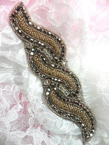 JB210 Glass Beaded Gunmetal Gold Applique Patch 7""