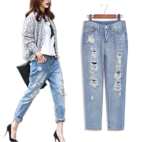 Spring summer 2016 denim pants ladies wear fashion vintage torn ...