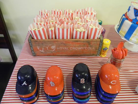 Popcorn and Baseball Hats for Ice Cream Sundays at Baseball Party