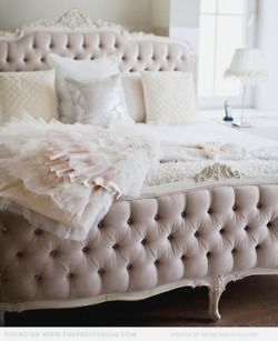 Pale Pink Velvet Tufted Bed...Lovely <3