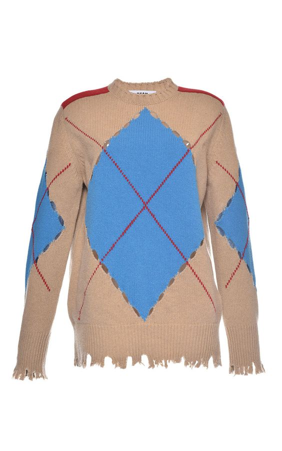 Distressed Argyle Sweater by MSGM for Preorder on Moda Operandi