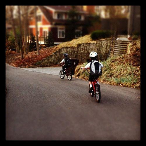 Riding to school...
