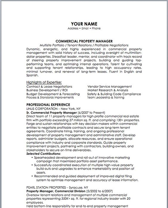 12 Property Management Resume Examples Sample Resumes resume - commercial operations manager sample resume
