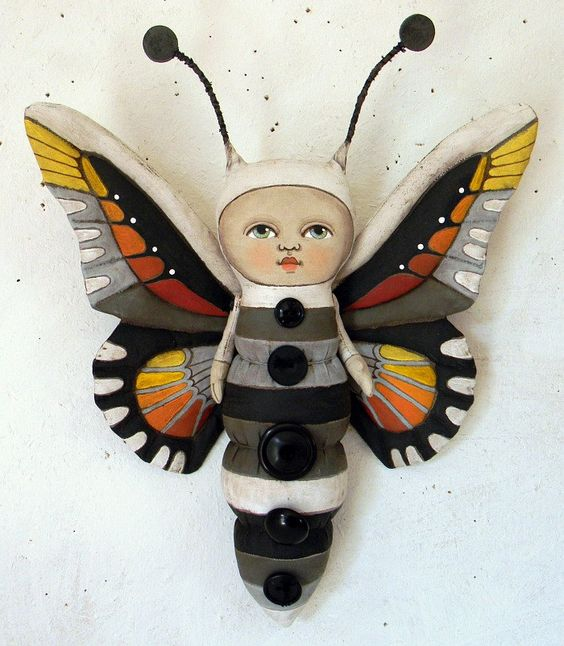 Butterfly Fairy Hand Painted Original Folk Art Doll Sculpture OOAK