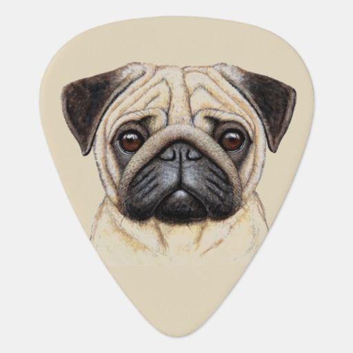 Cute Illustrated Pug Dog Guitar Pick Zazzle Com Black Pug