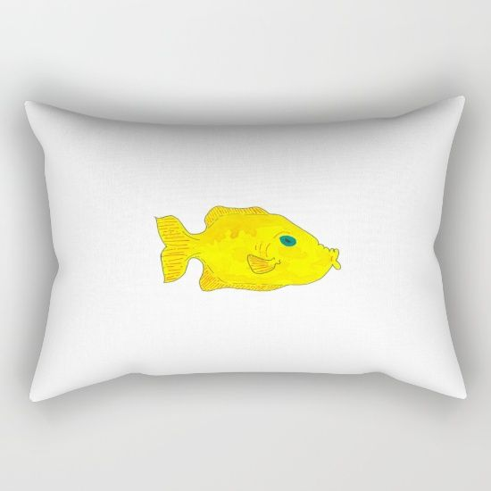 "Yellow Fish; Our Rectangular Pillow is the ultimate decorative accent to any room. Made from 100% spun polyester poplin fabric, these ""lumbar"" pillows feature a double-sided print and are finished with a concealed zipper for an ideal contemporary look. Includes faux down insert. Available in small, medium, large and x-large."