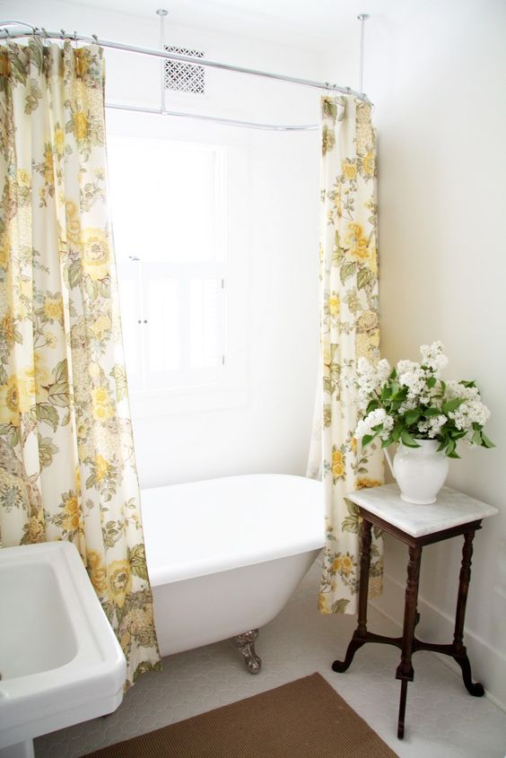 future clawfoot tub shower - A Country Farmhouse: The Bathroom