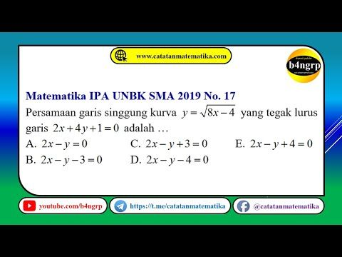 Unbk Sma 2019 Pembahasan Matematika Ipa No 17 Persamaan Garis