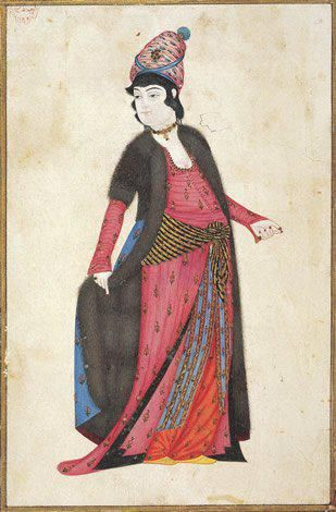 Ottoman Woman by Abdullah Buhari, 18th century, Istanbul University Library: