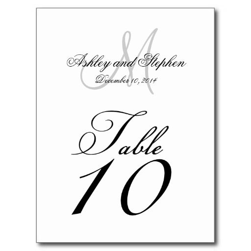 Wedding Table Number Cards Monogram Names Date Post Cards