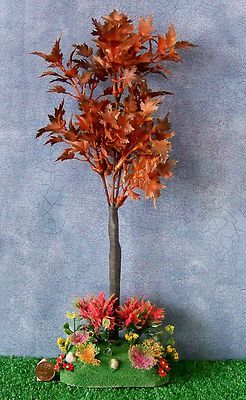 "Dollhouse Miniature Maple Tree & Flower garden 14 "" tall"