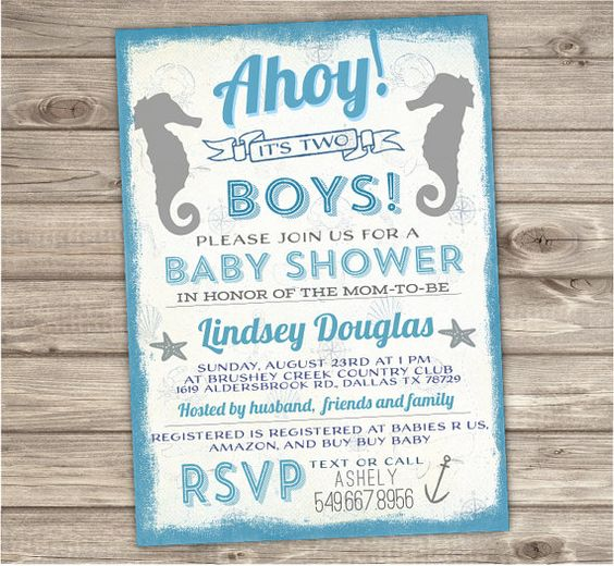 ★★★ Printable Digital File ★★★  ♥ Twin Baby Boy Invitations Seahorse. Ahoy Its A Boy!  ★ DESCRIPTION ► 24 - 48hrs turn around time ► Size 5X7, or custom sizes accepted ► JPEG {Single card} or PDF {Two cards per page} ► High Resolution 300 dpi File  ♥ Please Use Info Form Below and send it to me via Message or at Checkout. ____________________________________________________________________________________  INFO FORM:  NAME: DATE: TIME: LOCATION ADDRESS RSVP INFO: REGISTRY INFO:  Notes for…