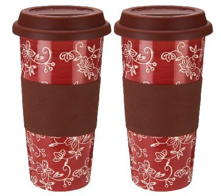 Temp-tations Floral Lace Set of 2 Ceramic Travel Mugs