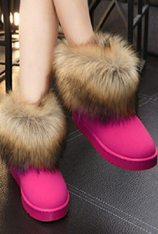 Women's Hot Pink Fur Cuff Winter Boots