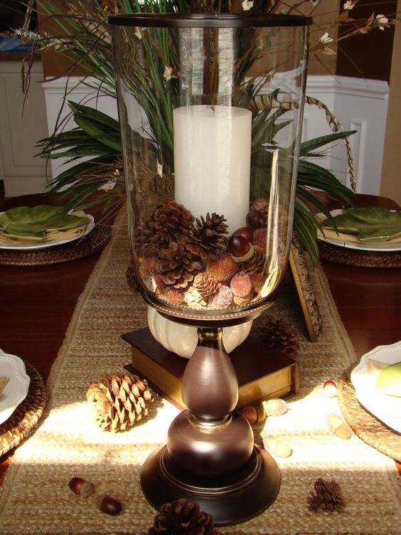 Adventures In Decorating Our Fall Kitchen: Big Candle Pillar/hurricane With Acorns And Mini Pinecones