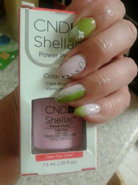 Cnd shellac cake pop and limeade with a bit of bling :-D