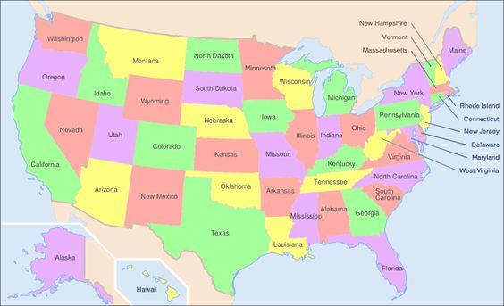 Mapa de los Estados de EEUU