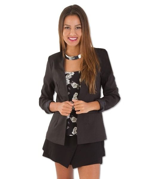 Sandy Collarless Fitted Tailored Jacket – Black | redthread7.com.au