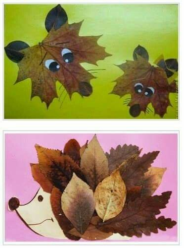 Why not go for a walk with your little ones and collect leaves to make autumnal animal pictures: