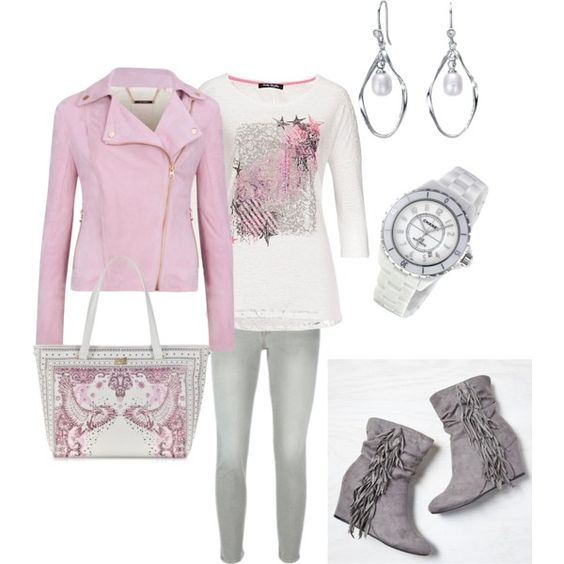 Pink & Gray #2 by gdhlady on Polyvore featuring Betty Barclay, Ted Baker, Frame Denim, American Eagle Outfitters, Class Roberto Cavalli and…