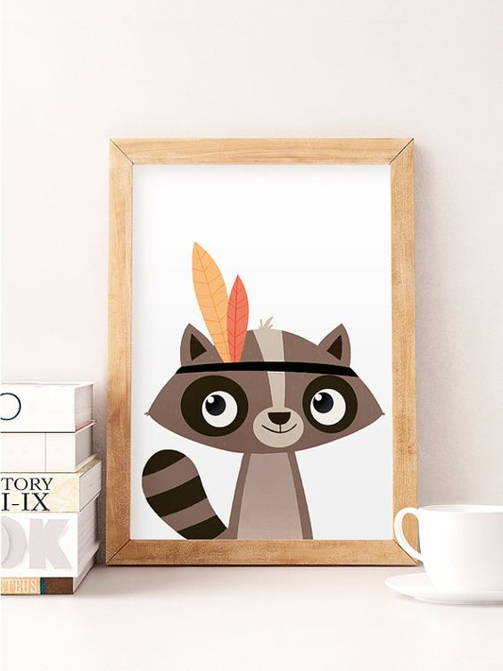 Racoon print Cute animals Animals wall art Nursery by NorseKids