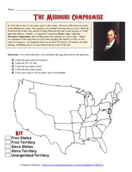 Missouri Compromise Missouri And Worksheets On Pinterest