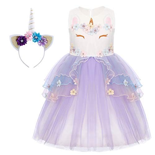 Unicorn Flower Girl Dress Kid Princes Pageant Birthday Party Cosplay Costume Set